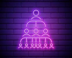 icône de néon de gestion du personnel. travail en équipe. hiérarchie professionnelle. organisation. direction. délégation. signe lumineux. illustration vectorielle isolée sur le mur de briques. vecteur