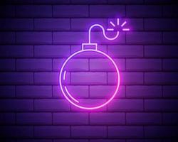 enseigne au néon boom. inscription de flèche au néon rougeoyante. publicité lumineuse de nuit. illustration vectorielle pour soirée et boîte de nuit isolé sur mur de briques vecteur