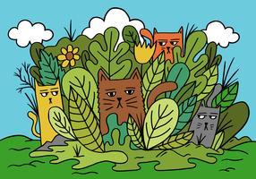 chats dans un jardin vecteur