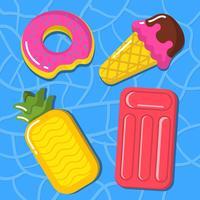 Inflatables de piscine mignonne vecteur