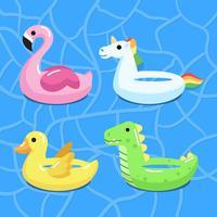 Personnages gonflables de piscine vecteur