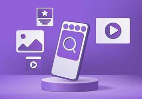 maquette mobile de vecteur 3d réaliste, icône préférée minimale abstraite avec périphérique smartphone géométrique. rendu 3d de vecteur de fond avec podium. scène vitrine moderne scène 3d studio violet pastel