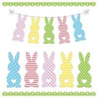 ensemble de modèles de lapin de pâques avec différents ornements vecteur