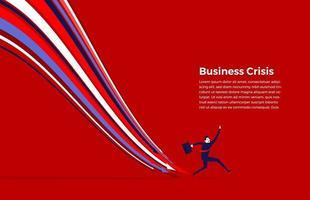 concept de crise de financement des entreprises. les flèches tombent pendant que l'homme d'affaires s'exécute. vecteur