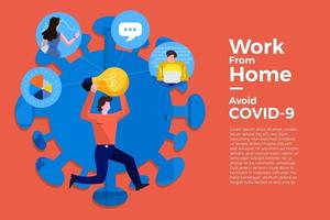 coronavirus (COVID-19. l'entreprise permet aux employés de travailler à domicile pour éviter les virus vecteur