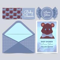 Carte de douche de bébé mignon ours de vecteur