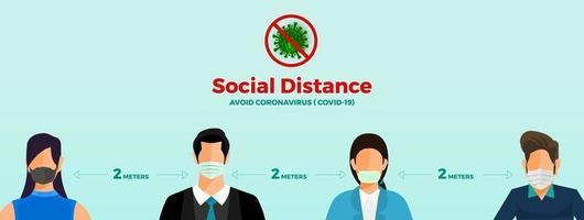 distanciation sociale pour éviter le covid-19 vecteur