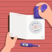 passeport covid-19, tamponné pour permettre l'entrée dans le pays vecteur