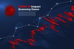Impact négatif de la covid-19 sur le graphique économique vecteur