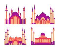 collection de bâtiments de mosquée islamique moderne plat élégant vecteur