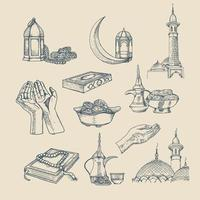 illustration vectorielle dessinés à la main islamique. inclus musulman, prier, mosquée, religion illustration vectorielle dessinés à la main