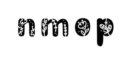 printemps floral vintage lettres audacieuses nmop logo. vecteurs de conception de lettre d'été classique avec couleur noire et main florale dessinée avec motif monoline vecteur