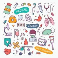 illustration vectorielle de doodle médical dessinés à la main vecteur