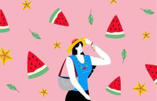 Femme chaude avec Summer Beach Background Vector Illustration