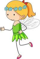 personnage de dessin animé simple d'une petite fée isolée vecteur