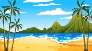 scène de plage tropicale avec fond de montagne au moment de la journée vecteur