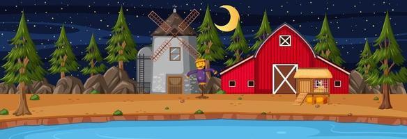 Scène horizontale de terres agricoles avec grange et moulin à vent pendant la nuit