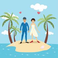 Illustration vectorielle de plage mariage