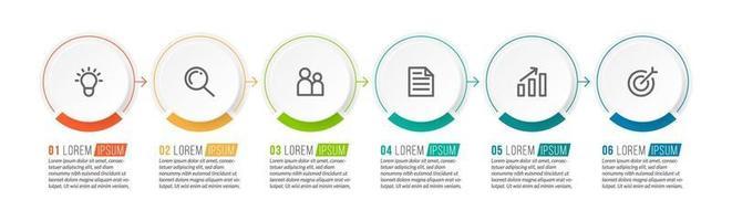 icônes de processus métier avec 6 étapes successives vecteur