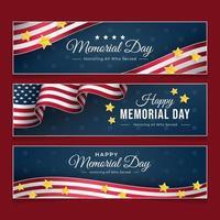 jour commémoratif avec bannière de drapeau américain vecteur