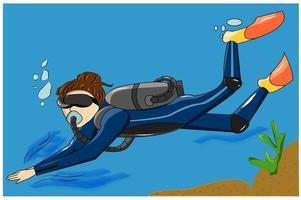 illustration de plongeur de personnage de conception vecteur