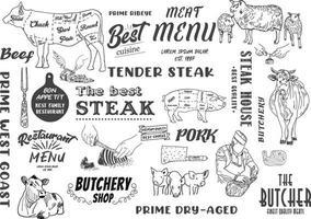 Boucherie tableau noir coupe de viande de boeuf ensemble vecteur