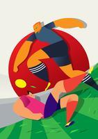Illustration de joueurs de football Coupe du monde au Japon vecteur