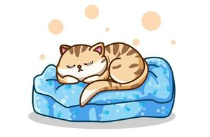 un chat dormant sur le matelas dessin à la main vecteur