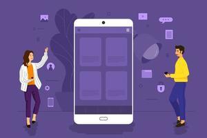 personnes travaillant ensemble pour développer une application mobile vecteur