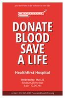 Dépliant de don de sang propre et minimaliste vecteur
