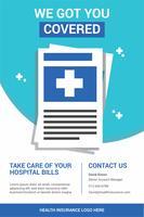 Brochure d'assurance maladie propre et minimaliste vecteur