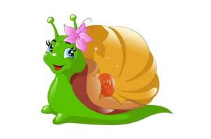 un bel escargot vert avec une coquille dorée utilisant un clip fleur vecteur