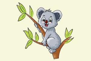 un petit bébé mignon koala sur un arbre, conception illustration vectorielle de dessin animé animal vecteur