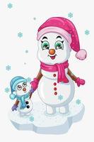 Une illustration de bonhomme de neige maman s'amusant avec son enfant sous une pluie de cristal dans la neige de l'hiver vecteur