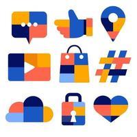 jeu d'icônes sociales vecteur