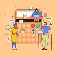 conception plate du travail d'équipe sur les finances vecteur