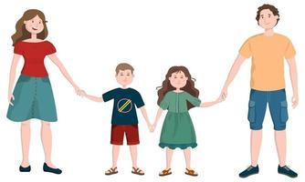 famille heureuse en style cartoon. vecteur
