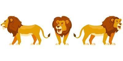 lion dans différentes poses. vecteur