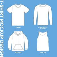 maquettes de vêtements de différents types de chemises vecteur