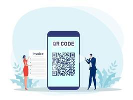 personnes utilisant un smartphone pour payer avec scan de code qr vecteur