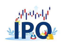 introduction en bourse, introduction en bourse. concept de stratégie d & # 39; investissement de personnes vecteur