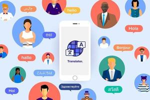 personnes utilisant une application de traduction linguistique vecteur