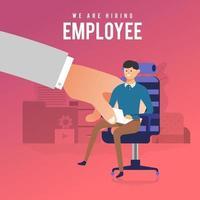 HR place un nouvel employé au fauteuil vecteur