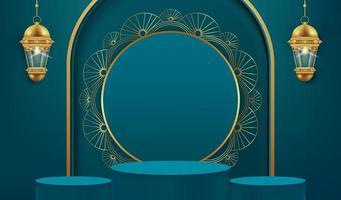 Fond de ramadan kareem 3D avec lampe dorée et podium. vecteur
