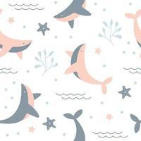 modèle sans couture avec baleine mignonne vecteur