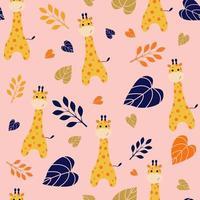 girafe mignonne et motif floral sans soudure vecteur