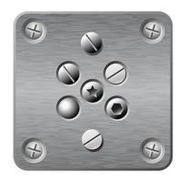 plaque de métal avec des icônes de vis vecteur
