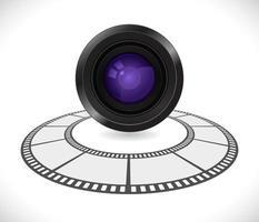 Lentille de la caméra en icône 3d de bande de film rond vecteur