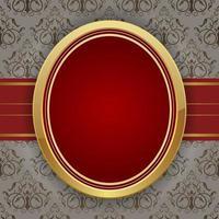 cadre rouge doré sur fond damassé floral vintage vecteur