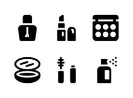 ensemble simple d'icônes solides vectorielles liées à la beauté vecteur
